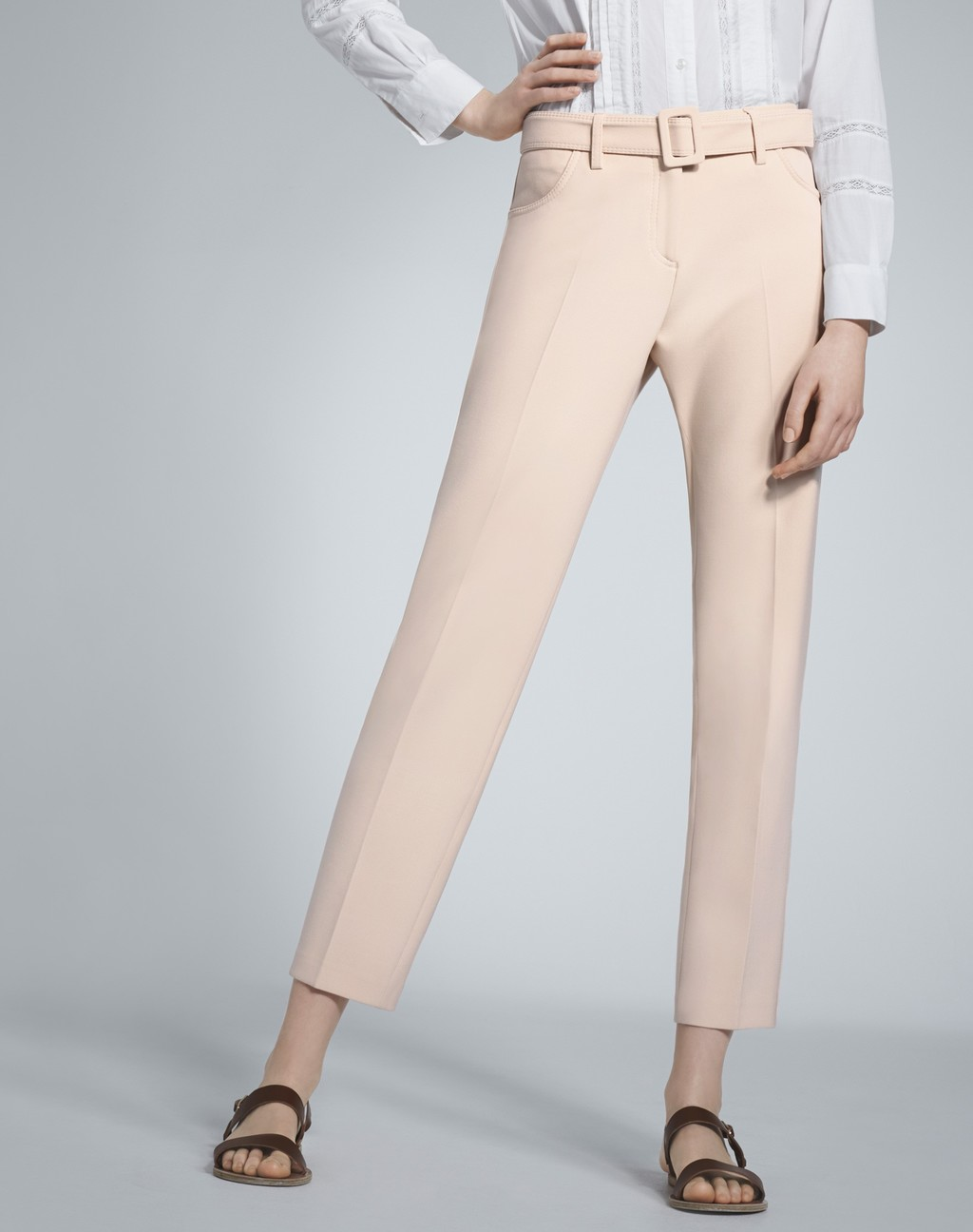 Slim Leg Belted Trouser Oyster - pattern: plain; style: peg leg; waist: high rise; waist detail: belted waist/tie at waist/drawstring; predominant colour: nude; length: ankle length; fibres: polyester/polyamide - 100%; texture group: crepes; fit: tapered; pattern type: fabric; occasions: creative work; season: s/s 2016; wardrobe: basic