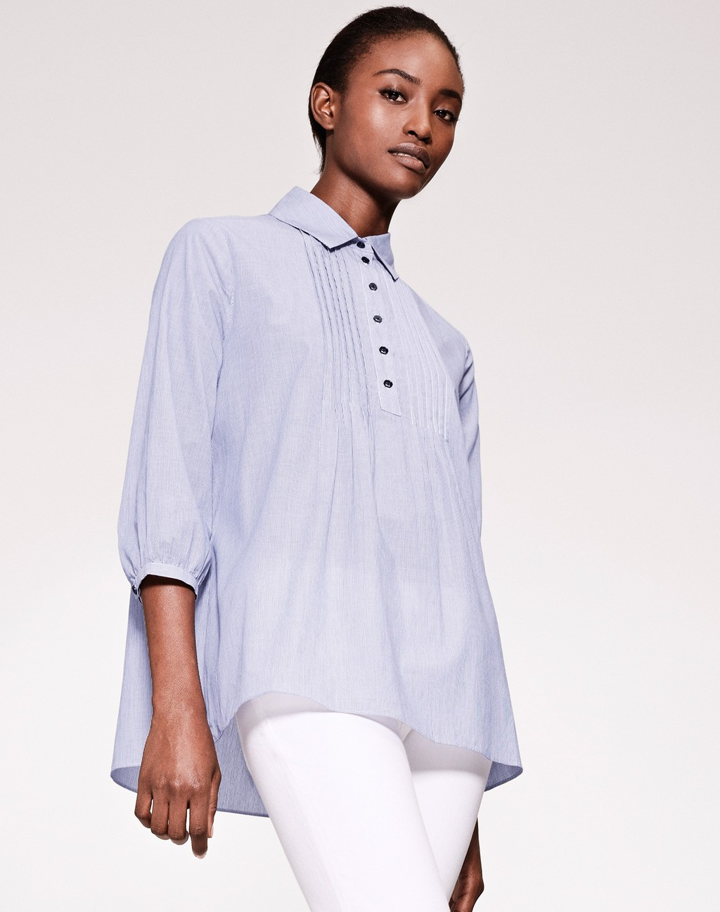 Pintuck Microstripe Tunic Blue Stripe - neckline: shirt collar/peter pan/zip with opening; pattern: plain; length: below the bottom; style: shirt; secondary colour: white; predominant colour: lilac; occasions: casual; fibres: cotton - 100%; fit: loose; sleeve length: 3/4 length; sleeve style: standard; texture group: cotton feel fabrics; pattern type: fabric; season: s/s 2016