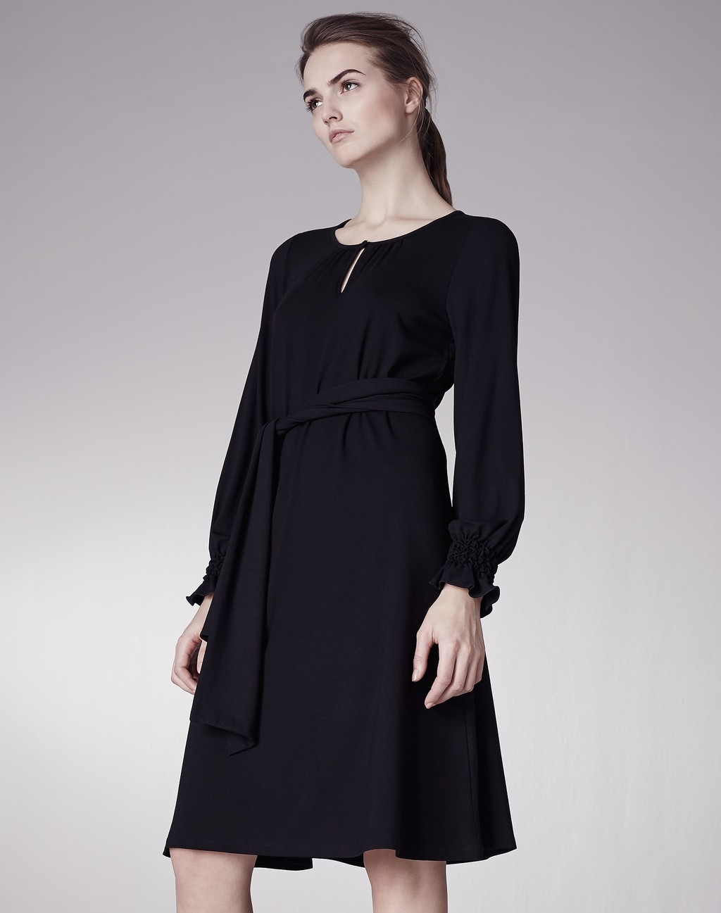 Ruched Cuff Belted Swing Dress Black - sleeve style: bell sleeve; fit: fitted at waist; pattern: plain; waist detail: belted waist/tie at waist/drawstring; predominant colour: black; occasions: work, occasion; length: on the knee; style: fit & flare; neckline: scoop; fibres: polyester/polyamide - 100%; hip detail: soft pleats at hip/draping at hip/flared at hip; sleeve length: long sleeve; pattern type: fabric; texture group: jersey - stretchy/drapey; season: s/s 2016
