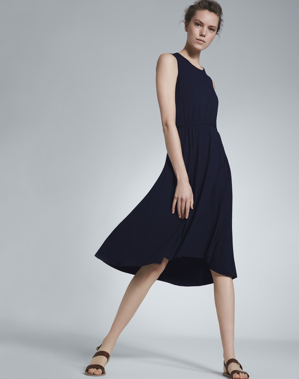 Tie Waist Summer Dress Navy - neckline: round neck; pattern: plain; sleeve style: sleeveless; waist detail: fitted waist; predominant colour: navy; occasions: casual, holiday; length: on the knee; fit: fitted at waist & bust; style: fit & flare; fibres: polyester/polyamide - 100%; hip detail: soft pleats at hip/draping at hip/flared at hip; sleeve length: sleeveless; texture group: crepes; pattern type: fabric; season: s/s 2016