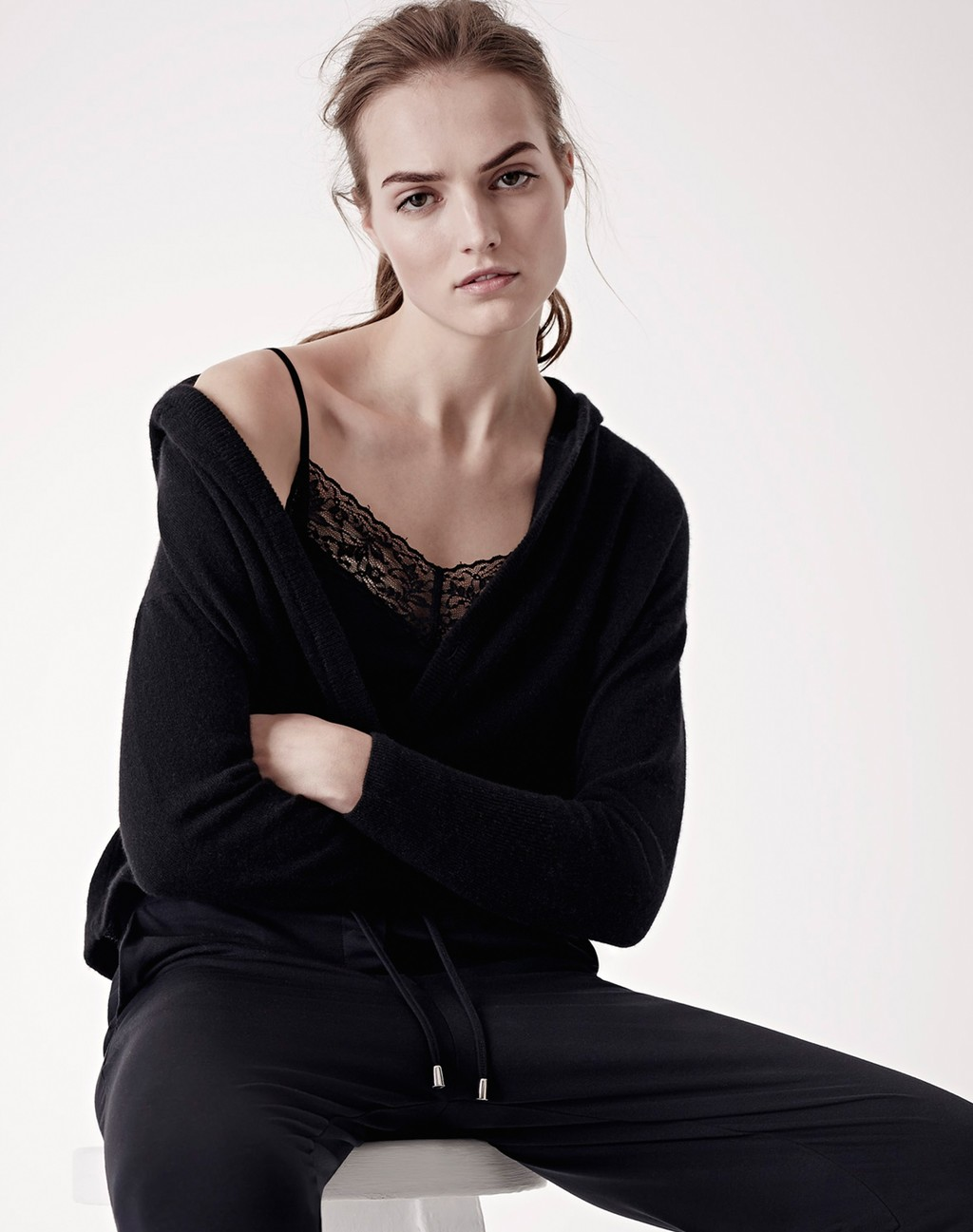 Lace Layering Cami Black - neckline: v-neck; pattern: plain; predominant colour: black; occasions: casual, work, creative work; length: standard; style: standard; fibres: silk - mix; fit: standard fit; sleeve length: long sleeve; sleeve style: standard; texture group: knits/crochet; pattern type: knitted - fine stitch; season: s/s 2016; wardrobe: basic