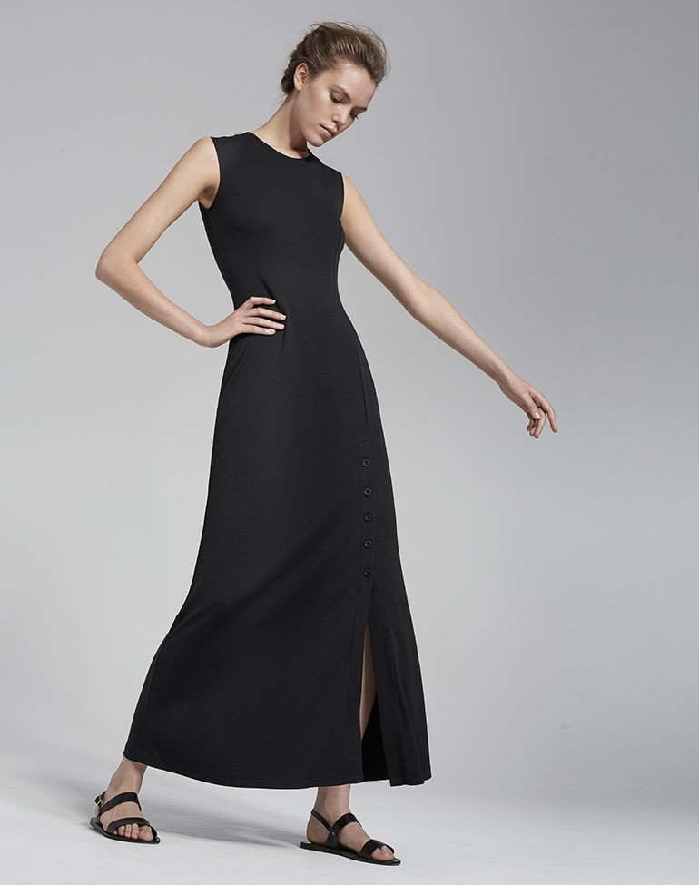 Button Split Maxi Dress Black - pattern: plain; sleeve style: sleeveless; style: maxi dress; length: ankle length; predominant colour: black; occasions: casual, holiday; fit: body skimming; fibres: cotton - stretch; neckline: crew; hip detail: slits at hip; sleeve length: sleeveless; pattern type: fabric; texture group: jersey - stretchy/drapey; season: s/s 2016; wardrobe: basic