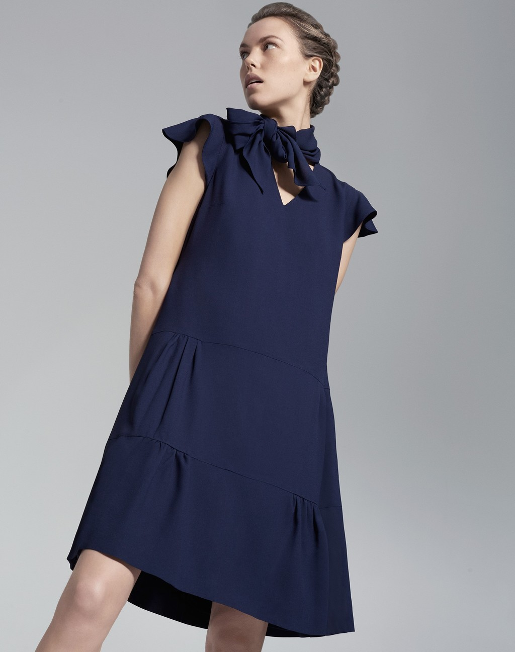 Garden Party Dress French Blue - style: trapeze; length: mid thigh; sleeve style: capped; fit: loose; pattern: plain; neckline: pussy bow; predominant colour: navy; fibres: polyester/polyamide - 100%; hip detail: adds bulk at the hips; sleeve length: sleeveless; texture group: crepes; pattern type: fabric; occasions: creative work; season: s/s 2016; wardrobe: highlight