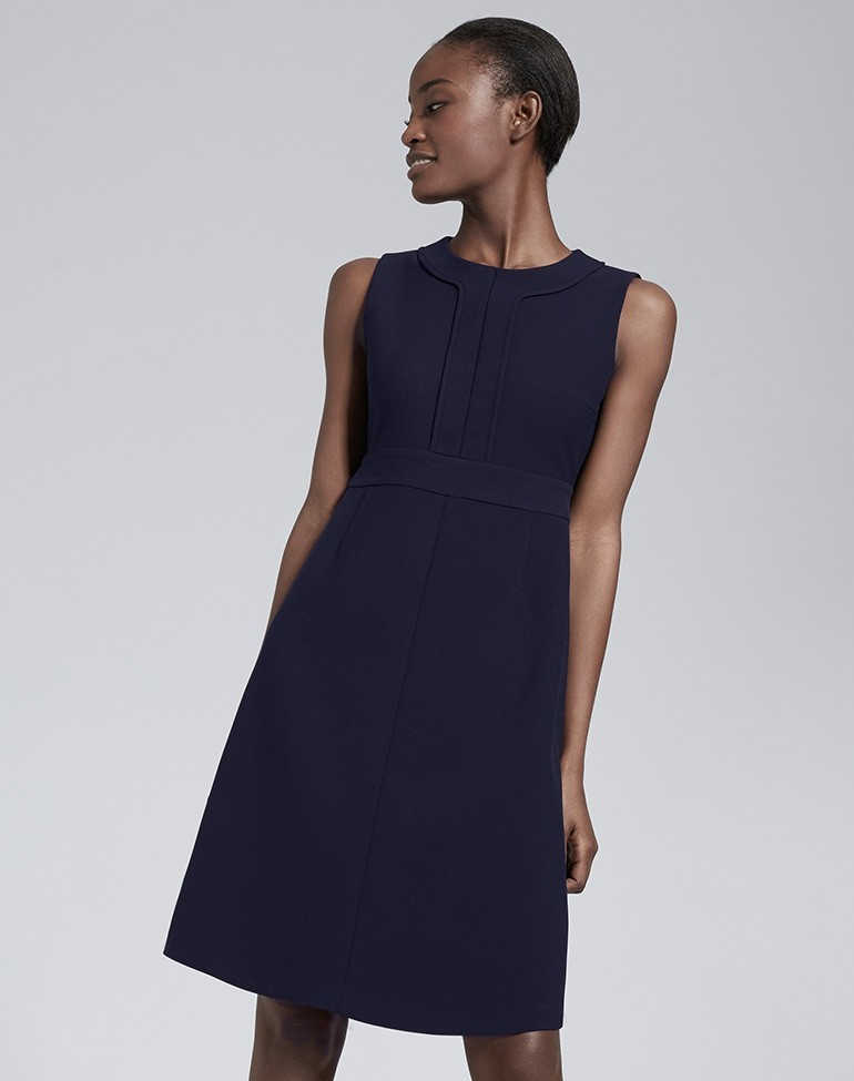 Sleeveless A Line Shift Dress Navy - style: shift; fit: tailored/fitted; pattern: plain; sleeve style: sleeveless; predominant colour: navy; occasions: work, occasion, creative work; length: on the knee; fibres: polyester/polyamide - mix; neckline: crew; sleeve length: sleeveless; pattern type: fabric; texture group: other - light to midweight; season: s/s 2016; wardrobe: investment