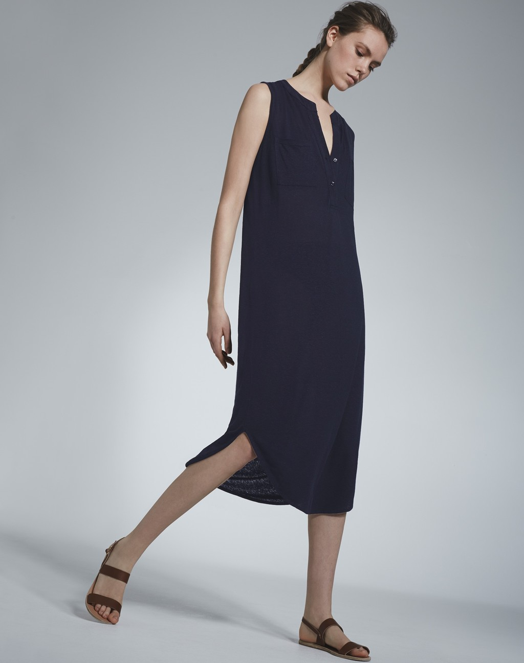 Linen Tunic Dress Navy - style: tunic; length: below the knee; neckline: v-neck; pattern: plain; sleeve style: sleeveless; predominant colour: navy; occasions: casual, creative work; fit: straight cut; fibres: linen - 100%; sleeve length: sleeveless; texture group: crepes; pattern type: fabric; season: s/s 2016; wardrobe: basic