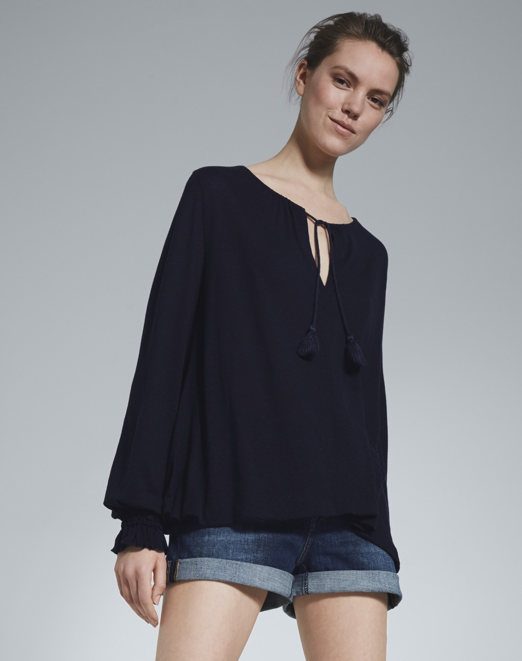 Linen Ruched Cuff Swing Top Navy - pattern: plain; neckline: pussy bow; predominant colour: black; occasions: casual; length: standard; style: top; fibres: linen - 100%; fit: loose; sleeve length: long sleeve; sleeve style: standard; texture group: crepes; pattern type: fabric; season: s/s 2016; wardrobe: highlight