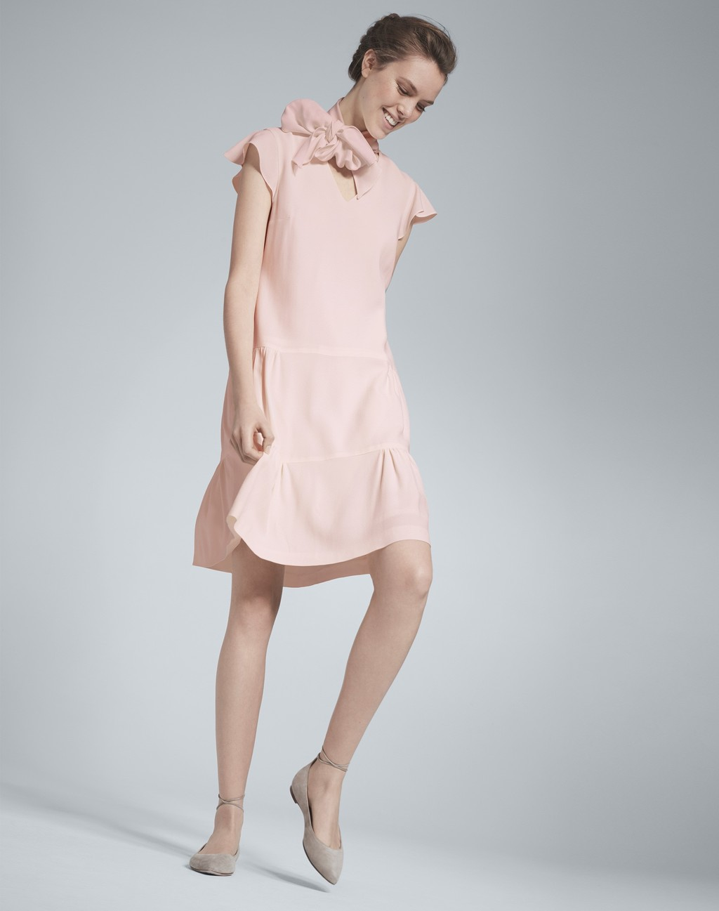 Garden Party Dress Blush - style: shift; sleeve style: capped; pattern: plain; neckline: high neck; predominant colour: blush; occasions: evening, creative work; length: just above the knee; fit: soft a-line; fibres: polyester/polyamide - 100%; sleeve length: short sleeve; texture group: crepes; pattern type: fabric; embellishment: corsage; season: s/s 2016; wardrobe: highlight; embellishment location: shoulder