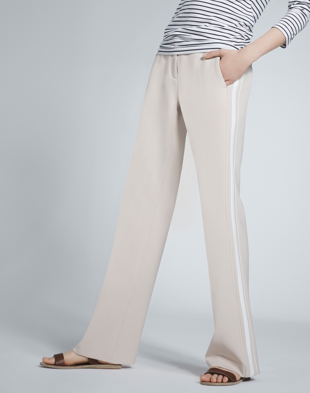Side Stripe Trouser Oyster/Cream - length: standard; pattern: plain; waist: mid/regular rise; secondary colour: ivory/cream; predominant colour: stone; fibres: polyester/polyamide - 100%; texture group: crepes; fit: wide leg; pattern type: fabric; style: standard; occasions: creative work; season: s/s 2016; wardrobe: basic