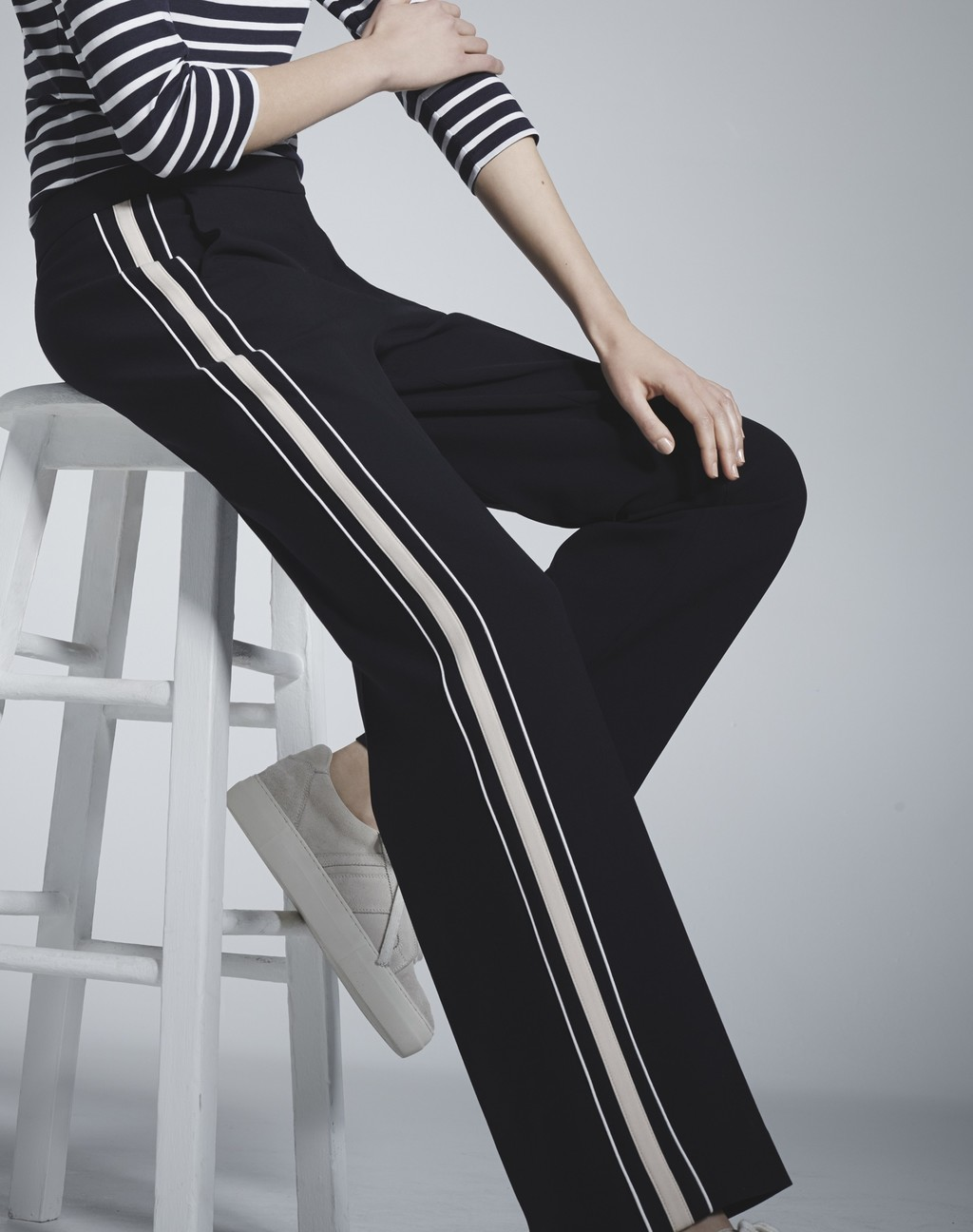 Side Stripe Trouser Navy/Oyster/White - length: standard; pattern: striped; waist: high rise; predominant colour: navy; occasions: casual, creative work; fibres: cotton - mix; trends: monochrome; texture group: crepes; fit: straight leg; pattern type: fabric; style: standard; season: s/s 2016; wardrobe: highlight