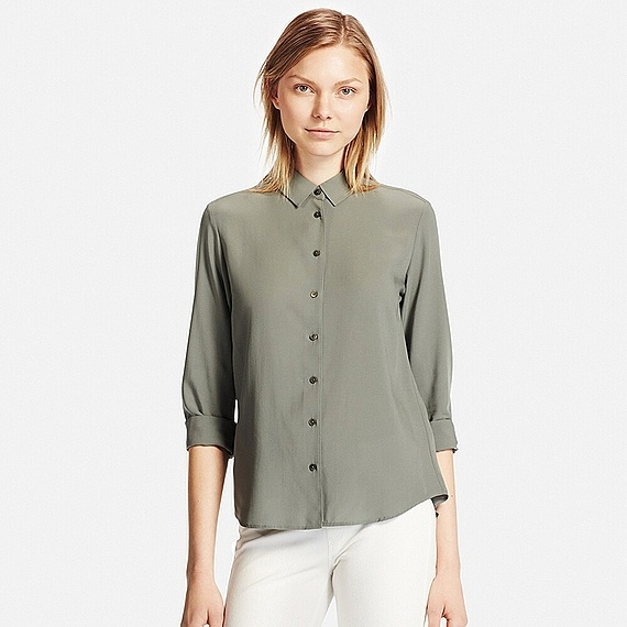 Women Silk Touch Long Sleeve Blouse (7 Colours) Olive - neckline: shirt collar/peter pan/zip with opening; pattern: plain; style: shirt; predominant colour: khaki; occasions: casual, creative work; length: standard; fibres: silk - 100%; fit: straight cut; sleeve length: 3/4 length; sleeve style: standard; texture group: silky - light; pattern type: fabric; season: s/s 2016; wardrobe: basic