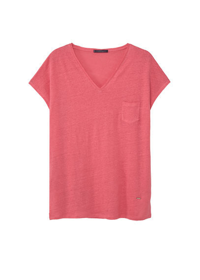 Pocket Linen Blend T Shirt - neckline: v-neck; sleeve style: capped; pattern: plain; style: t-shirt; predominant colour: pink; occasions: casual; length: standard; fibres: linen - mix; fit: straight cut; sleeve length: short sleeve; texture group: linen; bust detail: bulky details at bust; pattern type: fabric; season: s/s 2016; wardrobe: highlight