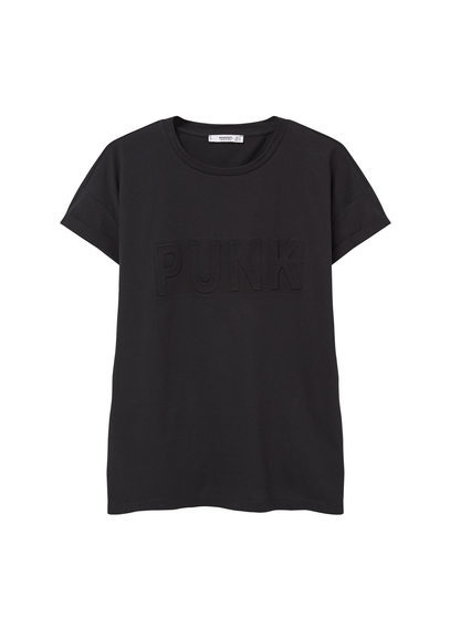 Embossed Cotton T Shirt - pattern: plain; style: t-shirt; predominant colour: black; occasions: casual; length: standard; fibres: cotton - 100%; fit: straight cut; neckline: crew; sleeve length: short sleeve; sleeve style: standard; pattern type: fabric; texture group: jersey - stretchy/drapey; season: s/s 2016