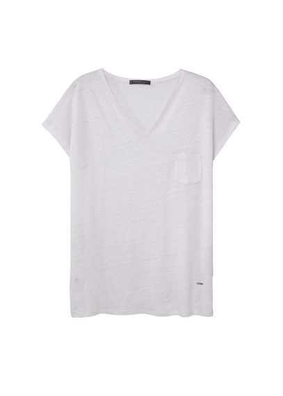 Pocket Linen Blend T Shirt - neckline: v-neck; sleeve style: capped; pattern: plain; style: t-shirt; predominant colour: white; occasions: casual; length: standard; fibres: linen - 100%; fit: loose; sleeve length: short sleeve; pattern type: fabric; texture group: jersey - stretchy/drapey; season: s/s 2016; wardrobe: basic