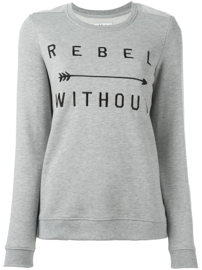 Embroidered 'rebel Without' Sweatshirt, Women's, Size: Small, Grey - style: sweat top; hip detail: draws attention to hips; predominant colour: light grey; occasions: casual; length: standard; fibres: cotton - mix; fit: loose; neckline: crew; sleeve length: long sleeve; sleeve style: standard; pattern type: fabric; texture group: jersey - stretchy/drapey; pattern: graphic/slogan; season: s/s 2016; wardrobe: highlight