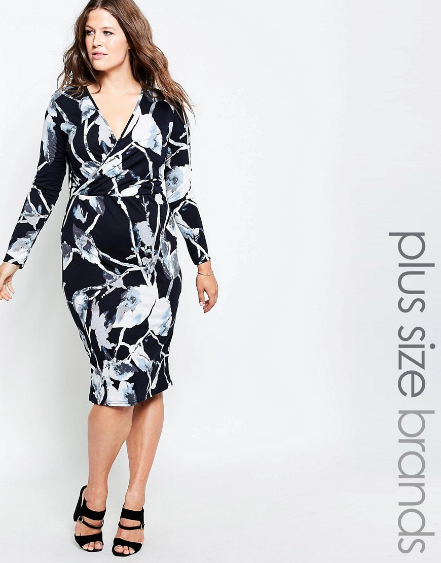 Plus Midi Dress With Wrap Front In Leaf Print Black/Cream - style: faux wrap/wrap; length: below the knee; neckline: v-neck; secondary colour: light grey; predominant colour: black; occasions: evening; fit: body skimming; fibres: viscose/rayon - stretch; sleeve length: long sleeve; sleeve style: standard; pattern type: fabric; pattern: patterned/print; texture group: jersey - stretchy/drapey; multicoloured: multicoloured; season: s/s 2016; wardrobe: event