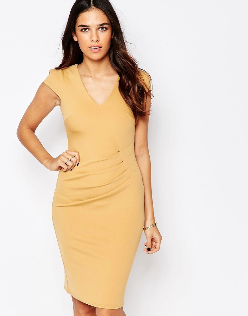 Aliz Pencil Dress With Ruched Front Nude - neckline: v-neck; sleeve style: capped; fit: tight; pattern: plain; style: bodycon; predominant colour: primrose yellow; occasions: evening; length: on the knee; fibres: polyester/polyamide - stretch; sleeve length: short sleeve; texture group: jersey - clingy; pattern type: fabric; season: s/s 2016