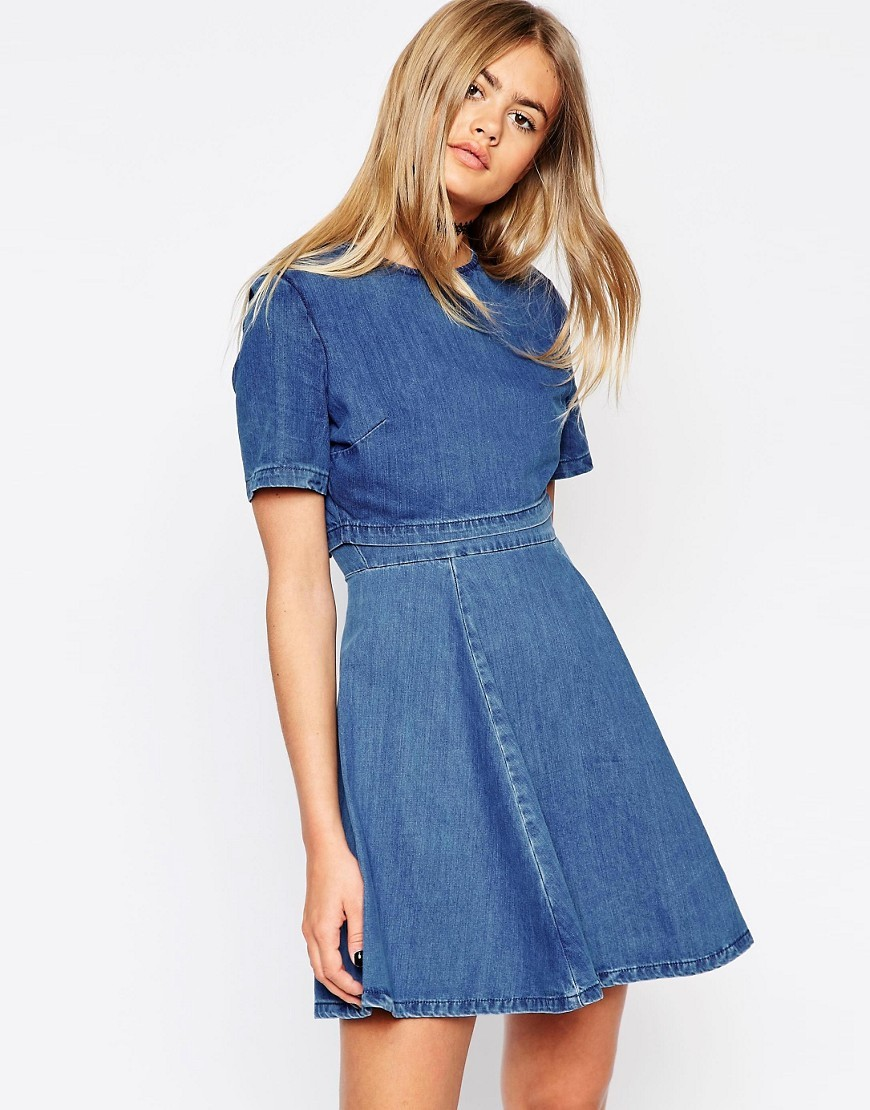 Crop Top Skater Dress Midwash Blue - length: mid thigh; pattern: plain; predominant colour: denim; occasions: casual; fit: fitted at waist & bust; style: fit & flare; fibres: cotton - 100%; neckline: crew; sleeve length: short sleeve; sleeve style: standard; texture group: denim; pattern type: fabric; season: s/s 2016