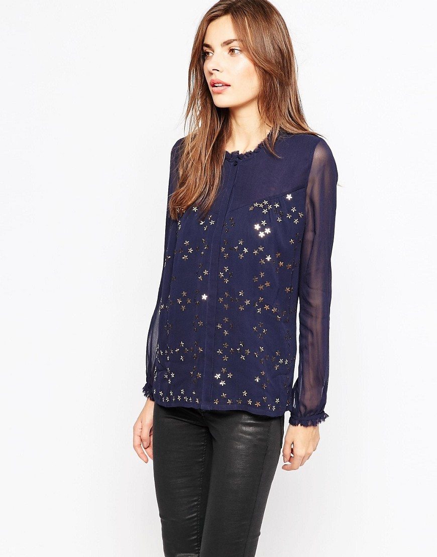 Million Stars High Neck Shirt In Nocturnal Nocturnal/Bronze - pattern: plain; predominant colour: navy; occasions: evening; length: standard; style: top; fibres: viscose/rayon - 100%; fit: body skimming; neckline: crew; sleeve length: long sleeve; sleeve style: standard; texture group: sheer fabrics/chiffon/organza etc.; pattern type: fabric; season: s/s 2016; wardrobe: event
