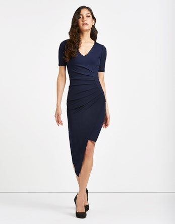 Asymmetric Ruched Side Midi Dress - neckline: low v-neck; fit: tight; pattern: plain; predominant colour: navy; occasions: evening; length: just above the knee; style: asymmetric (hem); fibres: polyester/polyamide - 100%; sleeve length: short sleeve; sleeve style: standard; pattern type: fabric; texture group: jersey - stretchy/drapey; season: s/s 2016