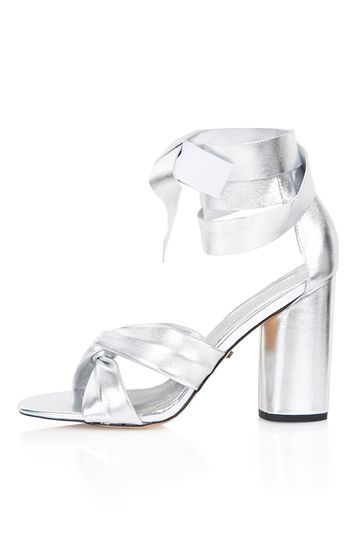 Rosetta Soft Knot Shoe - predominant colour: silver; occasions: evening, occasion; material: leather; heel height: high; ankle detail: ankle strap; heel: block; toe: open toe/peeptoe; style: strappy; finish: metallic; pattern: plain; season: s/s 2016; trends: metallics