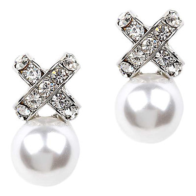 Glass Pave And Faux Pearl Cross Drop Earrings, Silver/White - secondary colour: white; predominant colour: silver; occasions: evening, occasion; style: drop; length: mid; size: standard; material: chain/metal; fastening: pierced; finish: metallic; embellishment: crystals/glass; season: s/s 2016; wardrobe: event