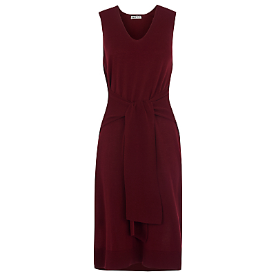 Tie Front Knit Dress, Burgundy - style: shift; neckline: low v-neck; pattern: plain; sleeve style: sleeveless; waist detail: belted waist/tie at waist/drawstring; predominant colour: burgundy; length: on the knee; fit: body skimming; fibres: cotton - stretch; sleeve length: sleeveless; pattern type: knitted - fine stitch; texture group: jersey - stretchy/drapey; occasions: creative work; season: s/s 2016; wardrobe: highlight