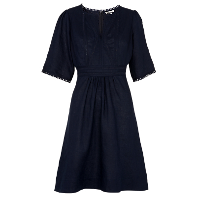 Loma Embroidered Dress, Navy - neckline: v-neck; pattern: plain; waist detail: fitted waist; predominant colour: navy; occasions: casual; length: just above the knee; fit: fitted at waist & bust; style: fit & flare; fibres: cotton - 100%; hip detail: adds bulk at the hips; sleeve length: half sleeve; sleeve style: standard; texture group: crepes; pattern type: fabric; embellishment: embroidered; season: s/s 2016; wardrobe: highlight