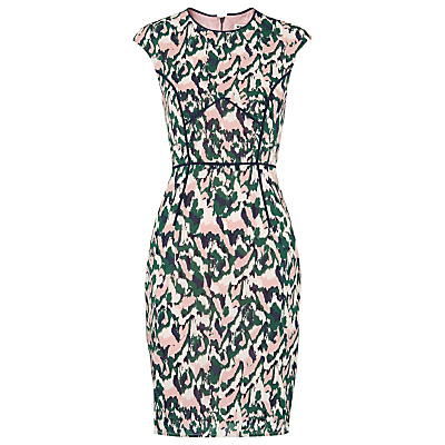 Deanna Bodycon Dress, Multi - neckline: round neck; sleeve style: capped; fit: tight; style: bodycon; waist detail: belted waist/tie at waist/drawstring; predominant colour: blush; secondary colour: dark green; occasions: evening, occasion; length: just above the knee; fibres: silk - mix; sleeve length: short sleeve; pattern type: fabric; pattern size: standard; pattern: patterned/print; texture group: other - light to midweight; multicoloured: multicoloured; season: s/s 2016; wardrobe: event