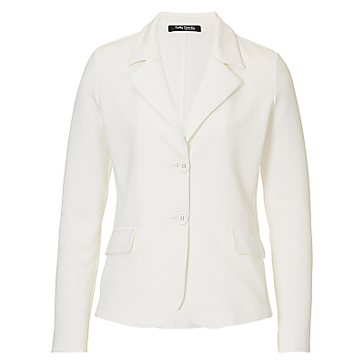 Fine Textured Jacket, Off White - pattern: plain; style: single breasted blazer; collar: standard lapel/rever collar; predominant colour: ivory/cream; length: standard; fit: tailored/fitted; fibres: polyester/polyamide - stretch; sleeve length: long sleeve; sleeve style: standard; texture group: crepes; collar break: medium; pattern type: fabric; occasions: creative work; season: s/s 2016; wardrobe: investment