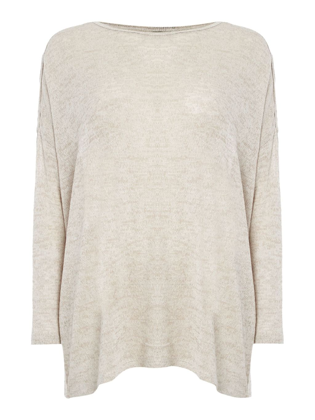 Long Sleeve Lightweight Oversize Knitted Jumper, Beige - neckline: slash/boat neckline; pattern: plain; length: below the bottom; style: standard; predominant colour: stone; occasions: casual, creative work; fit: loose; hip detail: subtle/flattering hip detail; sleeve length: 3/4 length; sleeve style: standard; texture group: knits/crochet; pattern type: knitted - fine stitch; fibres: viscose/rayon - mix; season: s/s 2016; wardrobe: basic