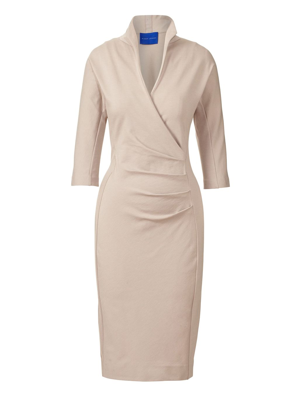 Grace Miracle Dress, Beige - style: shift; length: below the knee; neckline: v-neck; fit: tailored/fitted; pattern: plain; predominant colour: stone; fibres: viscose/rayon - stretch; occasions: occasion; sleeve length: 3/4 length; sleeve style: standard; pattern type: fabric; texture group: jersey - stretchy/drapey; season: s/s 2016; wardrobe: event