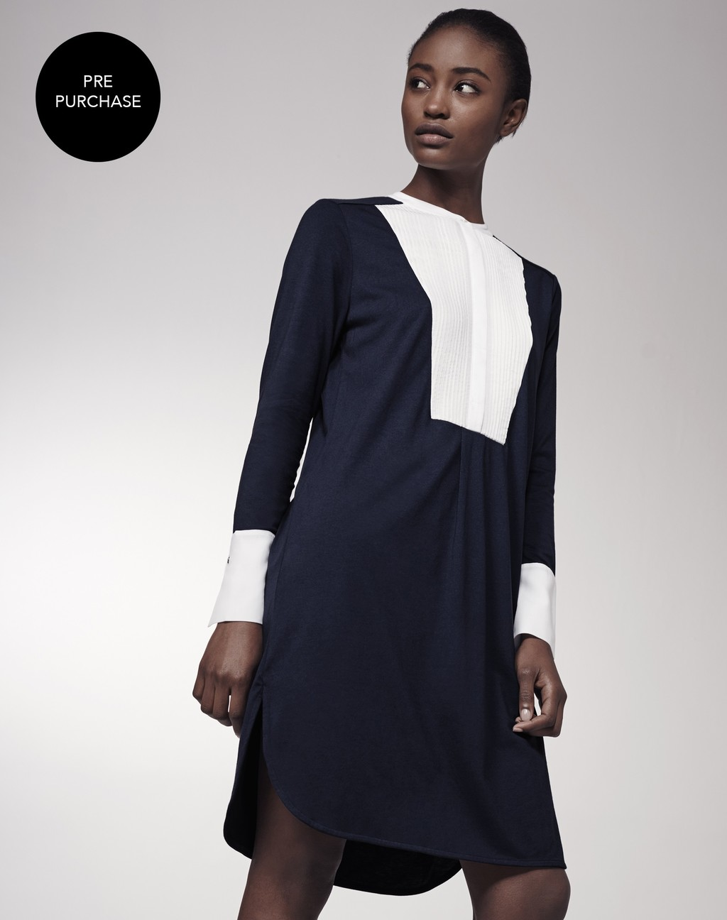 Oversized Grandad Shirt Dress French Navy/White - style: shirt; secondary colour: white; predominant colour: navy; occasions: evening; length: just above the knee; fit: body skimming; fibres: cotton - mix; neckline: crew; sleeve length: long sleeve; sleeve style: standard; texture group: cotton feel fabrics; pattern type: fabric; pattern: colourblock; multicoloured: multicoloured; season: s/s 2016; wardrobe: event