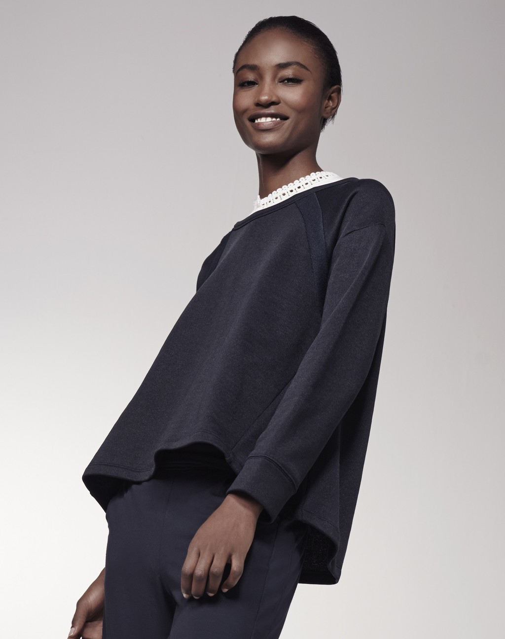Luxe Sweat Top Navy - pattern: plain; neckline: high neck; style: sweat top; predominant colour: navy; occasions: casual; length: standard; fibres: cotton - 100%; fit: loose; sleeve length: long sleeve; sleeve style: standard; pattern type: fabric; texture group: jersey - stretchy/drapey; season: s/s 2016