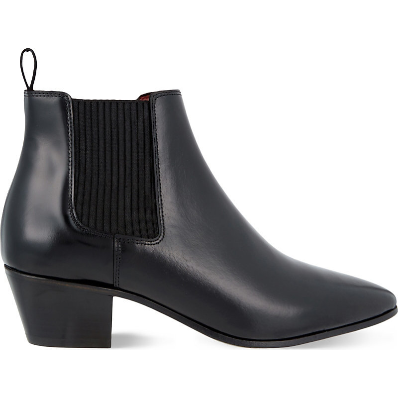 Finae Leather Heeled Chelsea Boots, Women's, Eur 39 / 6 Uk Women, Black - predominant colour: black; occasions: casual, creative work; material: leather; heel height: mid; heel: block; toe: pointed toe; boot length: ankle boot; style: standard; finish: plain; pattern: plain; season: s/s 2016; wardrobe: basic