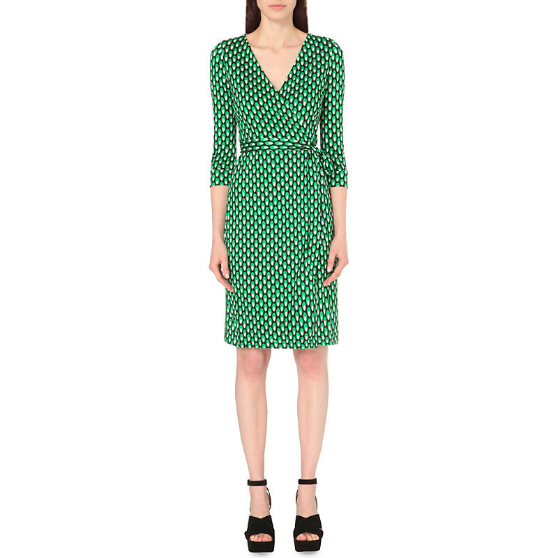 New Julian Two Silk Jersey Wrap Dress, Women's, Dots Green - style: faux wrap/wrap; neckline: v-neck; waist detail: belted waist/tie at waist/drawstring; predominant colour: emerald green; occasions: evening; length: on the knee; fit: body skimming; fibres: silk - 100%; sleeve length: 3/4 length; sleeve style: standard; pattern type: fabric; pattern: patterned/print; texture group: jersey - stretchy/drapey; season: s/s 2016; wardrobe: event