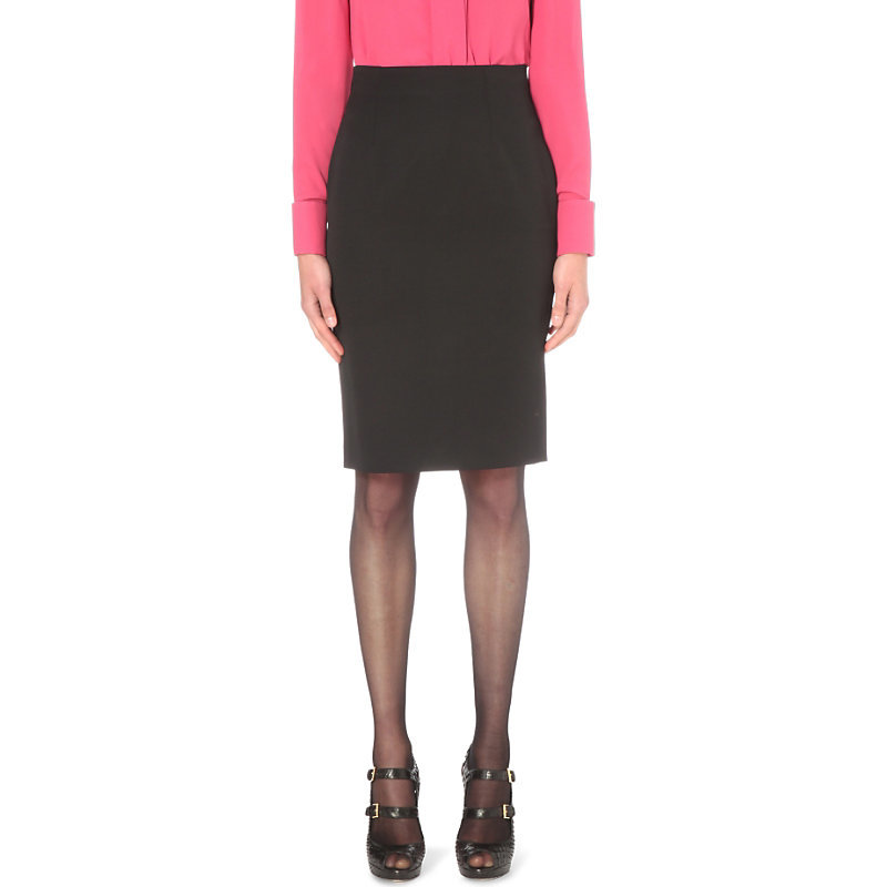High Waisted Wool Pencil Skirt, Women's, Black - pattern: plain; style: pencil; fit: tailored/fitted; waist: high rise; predominant colour: black; occasions: work; length: just above the knee; fibres: wool - 100%; pattern type: fabric; texture group: woven light midweight; season: s/s 2016; wardrobe: basic