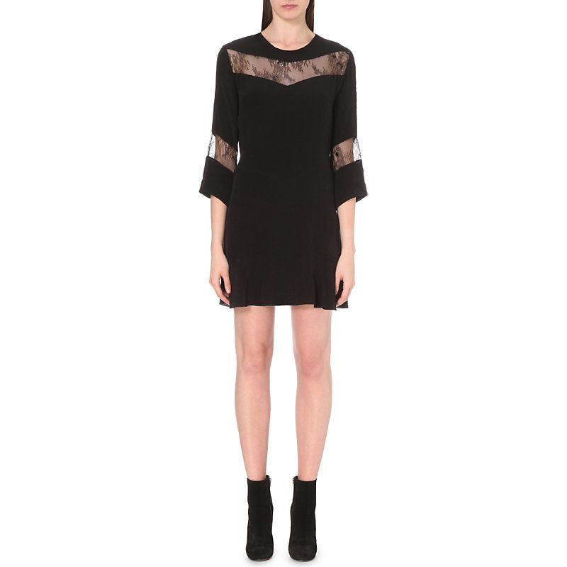 Hania Lace Panel Dress, Women's, Black - style: shift; length: mid thigh; predominant colour: black; occasions: evening; fit: body skimming; fibres: nylon - 100%; neckline: crew; sleeve length: 3/4 length; sleeve style: standard; pattern type: fabric; pattern size: standard; pattern: patterned/print; texture group: other - light to midweight; embellishment: lace; season: s/s 2016; wardrobe: event