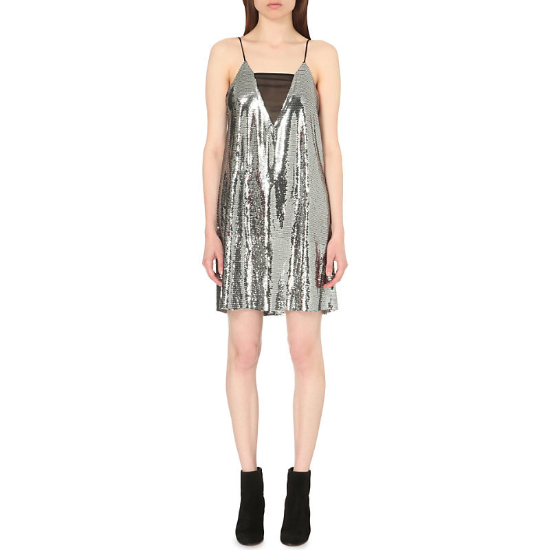 Sequin Embellished Dress, Women's, Silver - neckline: v-neck; sleeve style: spaghetti straps; pattern: plain; predominant colour: silver; occasions: evening; length: just above the knee; fit: body skimming; style: slip dress; fibres: polyester/polyamide - 100%; sleeve length: sleeveless; pattern type: fabric; texture group: other - light to midweight; embellishment: sequins; season: s/s 2016