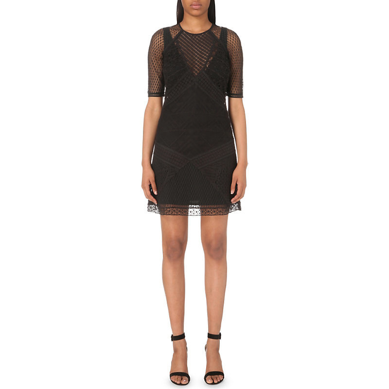 Rene Lace Dress, Women's, Black - style: shift; length: mid thigh; predominant colour: black; occasions: evening; fit: body skimming; fibres: cotton - stretch; neckline: crew; sleeve length: half sleeve; sleeve style: standard; texture group: lace; pattern type: fabric; pattern: patterned/print; embellishment: lace; season: s/s 2016; wardrobe: event