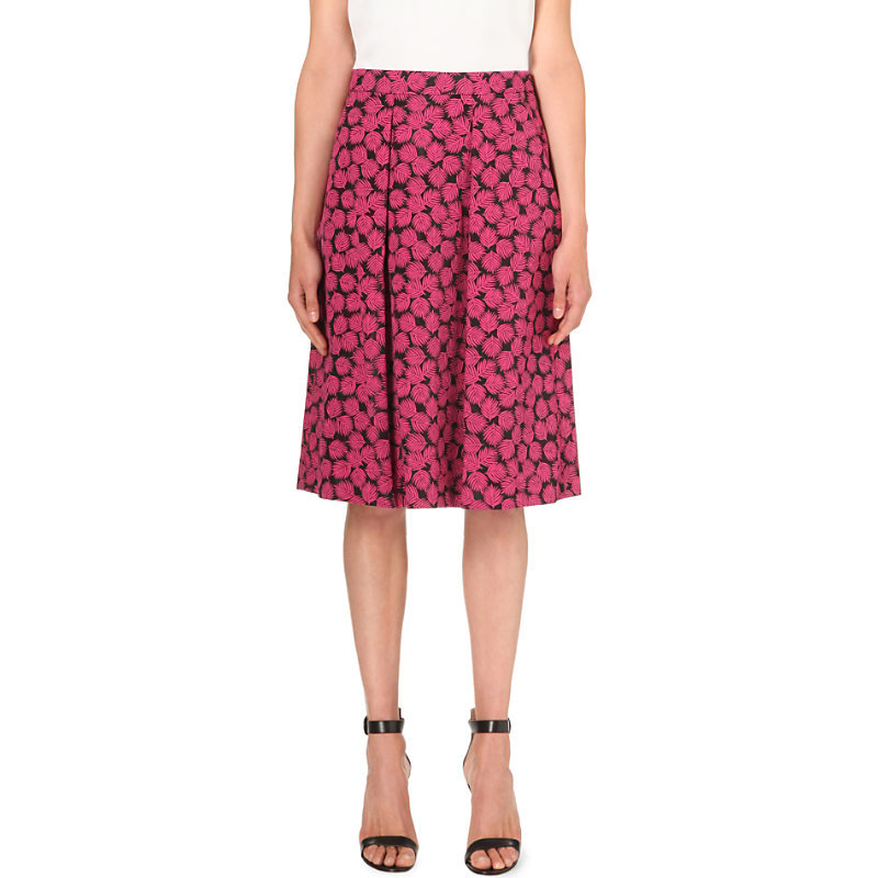 Jacquard Leaf Skirt, Women's, Geranium Black - length: below the knee; style: full/prom skirt; fit: loose/voluminous; waist: high rise; predominant colour: hot pink; secondary colour: navy; occasions: evening, occasion; fibres: polyester/polyamide - 100%; hip detail: adds bulk at the hips; pattern type: fabric; pattern: florals; texture group: brocade/jacquard; pattern size: big & busy (bottom); season: s/s 2016; wardrobe: event