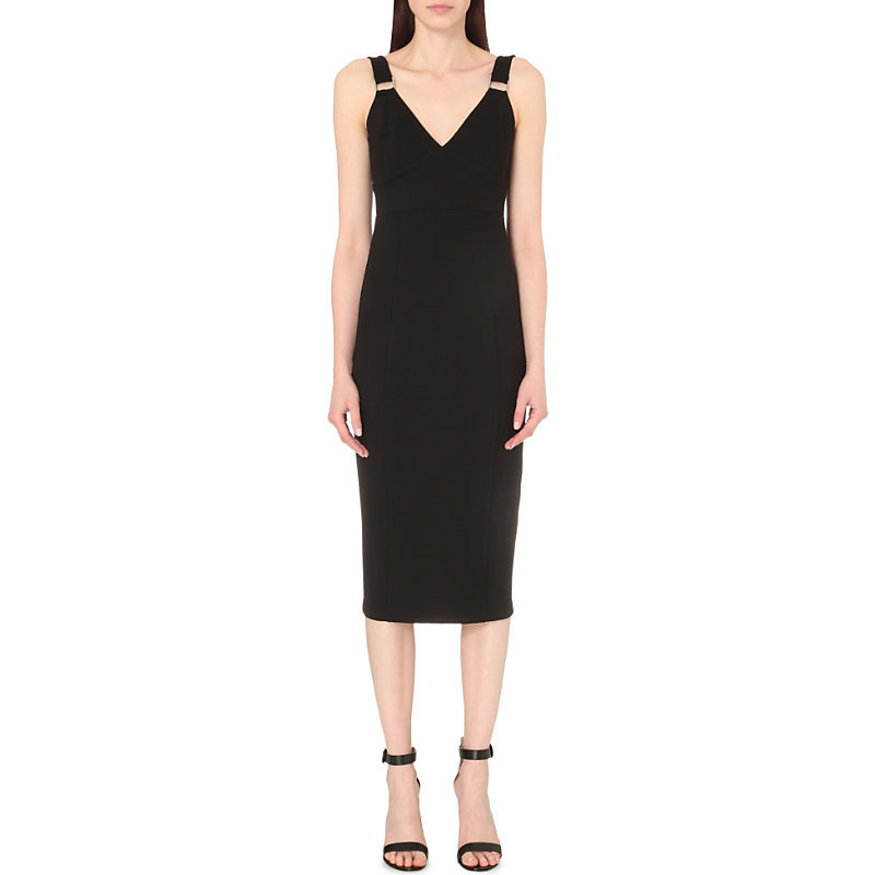 Metal Detail Jersey Dress, Women's, Black - style: shift; length: below the knee; neckline: v-neck; fit: tailored/fitted; pattern: plain; sleeve style: sleeveless; predominant colour: black; occasions: evening; fibres: polyester/polyamide - 100%; sleeve length: sleeveless; pattern type: fabric; texture group: jersey - stretchy/drapey; season: s/s 2016; wardrobe: event