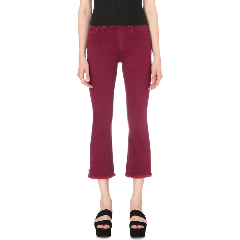 Flared Cropped Mid Rise Jeans, Women's, Distressed Plum - style: flares; pattern: plain; waist: mid/regular rise; predominant colour: burgundy; occasions: casual, creative work; length: calf length; fibres: cotton - stretch; texture group: denim; pattern type: fabric; season: s/s 2016; wardrobe: highlight