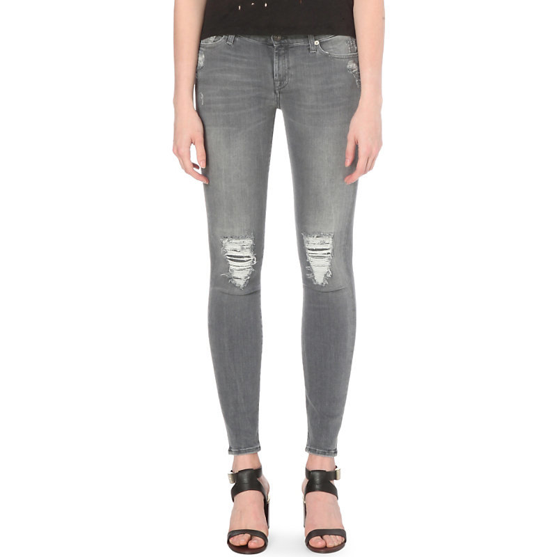 Illusion Distressed Super Skinny Mid Rise Jeans, Women's, Ivory Grey Distressed - style: skinny leg; length: standard; pattern: plain; waist: mid/regular rise; predominant colour: mid grey; occasions: casual; fibres: cotton - stretch; texture group: denim; pattern type: fabric; season: s/s 2016; wardrobe: highlight