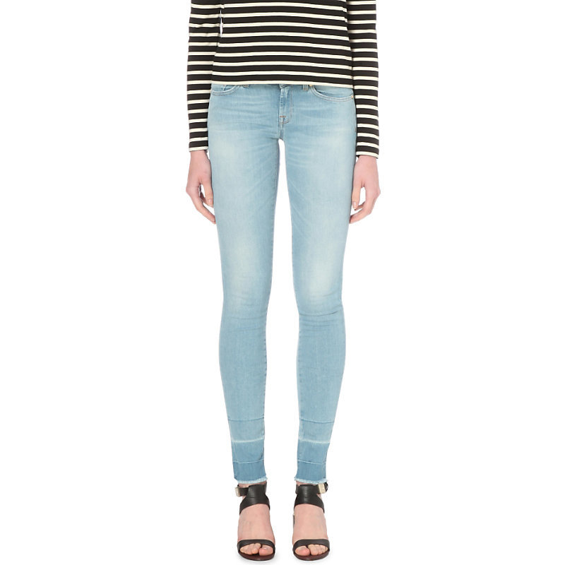 Cristen Super Skinny Mid Rise Released Hem Jeans, Women's, Poolblue - style: skinny leg; length: standard; pattern: plain; pocket detail: traditional 5 pocket; waist: mid/regular rise; predominant colour: pale blue; occasions: casual; fibres: cotton - stretch; jeans detail: washed/faded; texture group: denim; pattern type: fabric; season: s/s 2016; wardrobe: basic