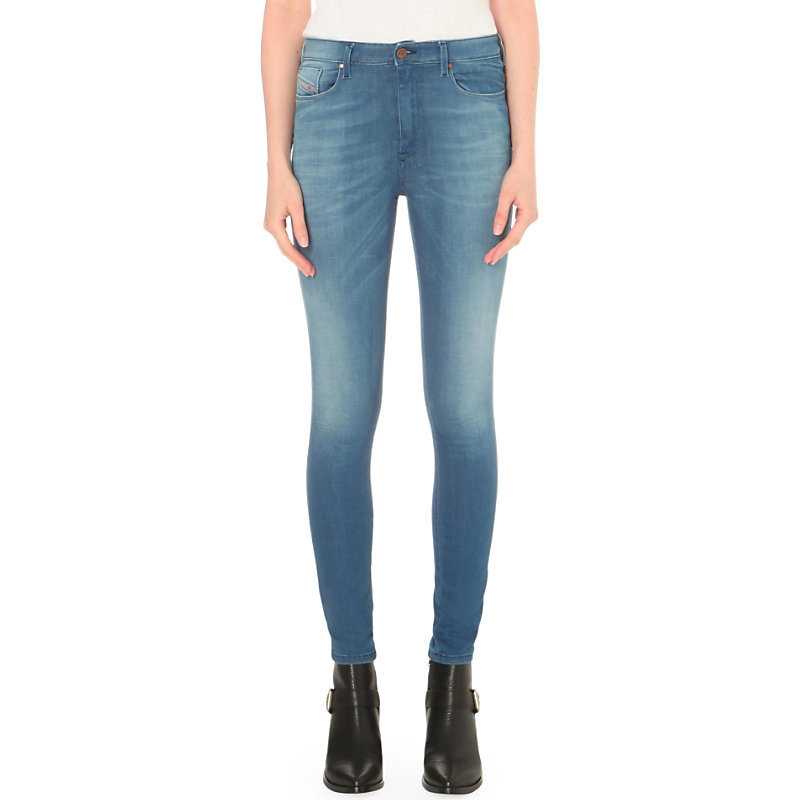 Skinzee Super Skinny High Rise Jeans, Women's, 0855s - style: skinny leg; length: standard; pattern: plain; pocket detail: traditional 5 pocket; waist: mid/regular rise; predominant colour: denim; occasions: casual, creative work; fibres: cotton - stretch; texture group: denim; pattern type: fabric; season: s/s 2016; wardrobe: basic