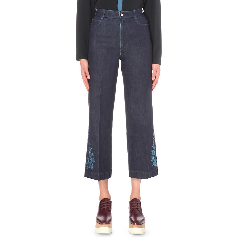 Embroidered Cropped Flared Mid Rise Jeans, Women's, Dark Blue - pattern: plain; waist: high rise; style: wide leg; predominant colour: denim; occasions: casual; length: calf length; fibres: polyester/polyamide - 100%; jeans detail: dark wash; texture group: denim; pattern type: fabric; season: s/s 2016; wardrobe: basic