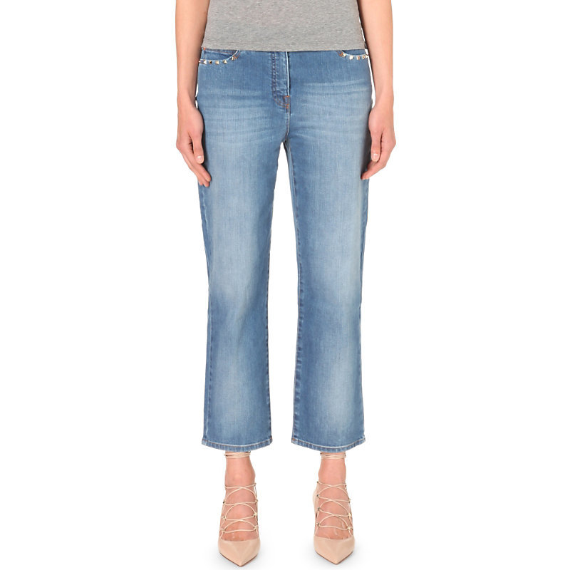 Rockstud Boyfriend High Rise Jeans, Women's, Blue - style: boyfriend; pattern: plain; pocket detail: traditional 5 pocket; waist: mid/regular rise; predominant colour: denim; occasions: casual; length: ankle length; fibres: cotton - stretch; texture group: denim; pattern type: fabric; season: s/s 2016; wardrobe: basic