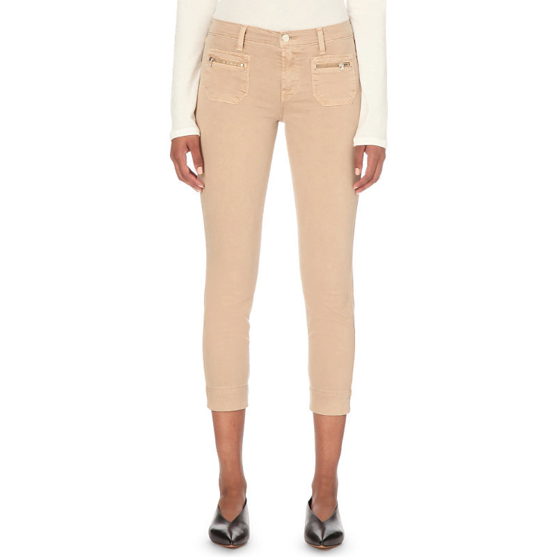 Talon Cropped Stretch Cotton Twill Trousers, Women's, Distressed Sand Sky - pattern: plain; waist: mid/regular rise; predominant colour: nude; occasions: casual; length: calf length; fibres: cotton - stretch; texture group: denim; fit: skinny/tight leg; pattern type: fabric; style: standard; season: s/s 2016; wardrobe: basic