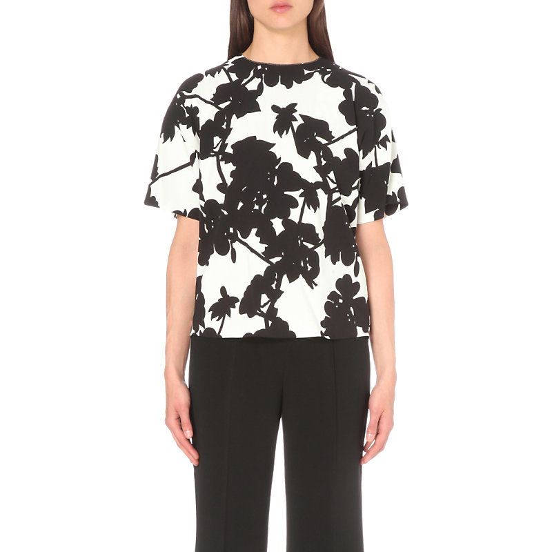Floral Print Woven Top, Women's, White - neckline: round neck; style: t-shirt; predominant colour: white; secondary colour: black; occasions: casual, creative work; length: standard; fibres: viscose/rayon - stretch; fit: body skimming; sleeve length: short sleeve; sleeve style: standard; texture group: crepes; pattern type: fabric; pattern: florals; season: s/s 2016