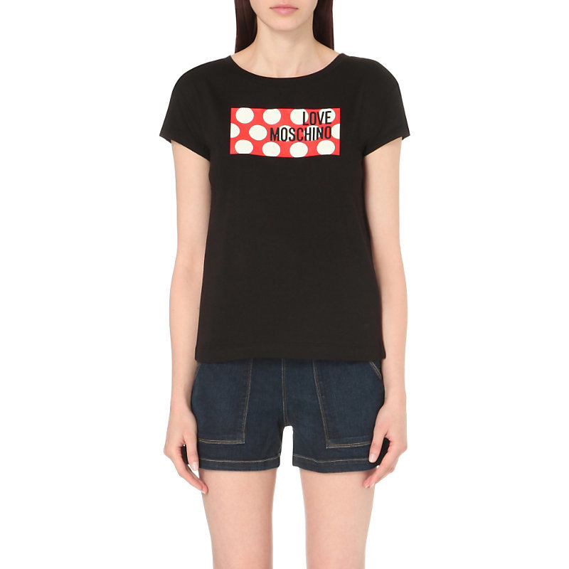 Logo Print Jersey T Shirt, Women's, Black - style: t-shirt; secondary colour: true red; predominant colour: black; occasions: casual; length: standard; fibres: cotton - mix; fit: body skimming; neckline: crew; sleeve length: short sleeve; sleeve style: standard; pattern type: fabric; texture group: jersey - stretchy/drapey; pattern: graphic/slogan; multicoloured: multicoloured; season: s/s 2016; wardrobe: highlight